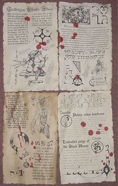 Necronomicon spellbook pages prop for cthulhu larp by for Portent 4 letters
