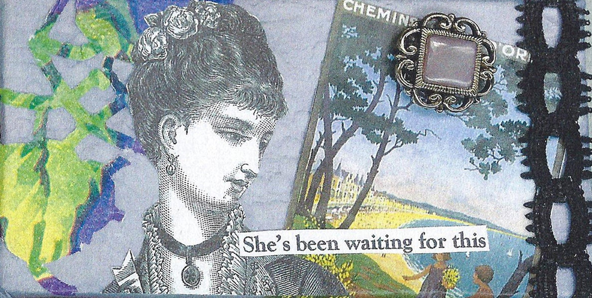 Vintage Style Original Whimsical Collage Art Small Geekery Handmade On Easel Violet Purple :  A Woman Is Waiting