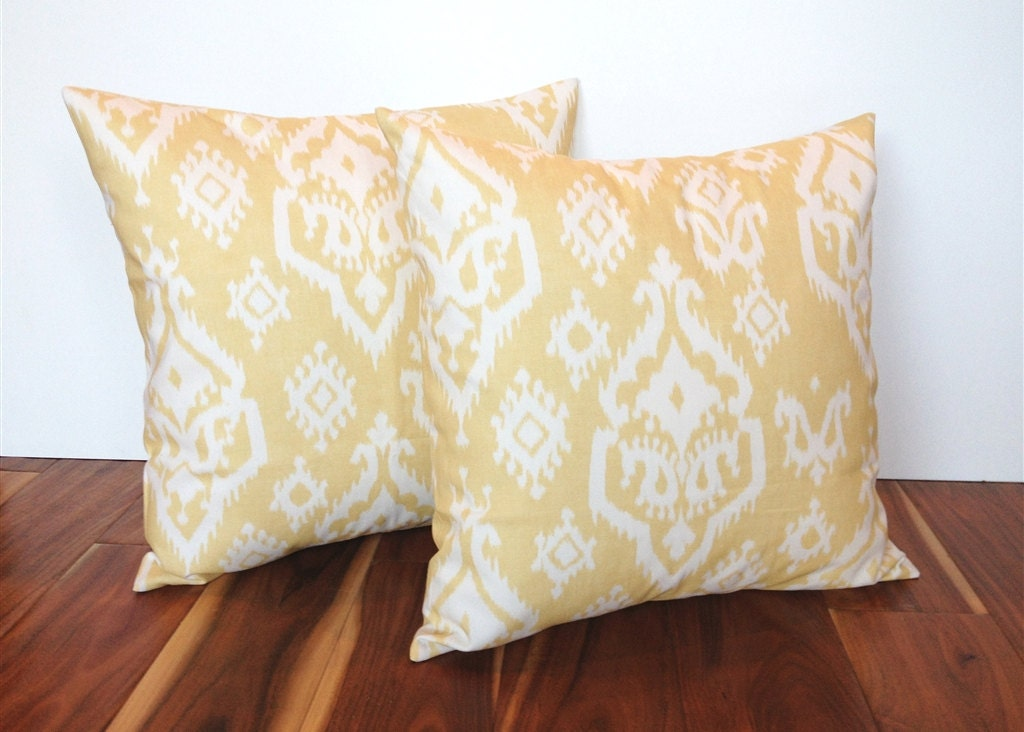 Pale Yellow Throw Pillow Cover : Items similar to 2 Yellow Ikat Throw Pillow Covers. 18 X 18 Inch Pale Yellow and White Ikat ...