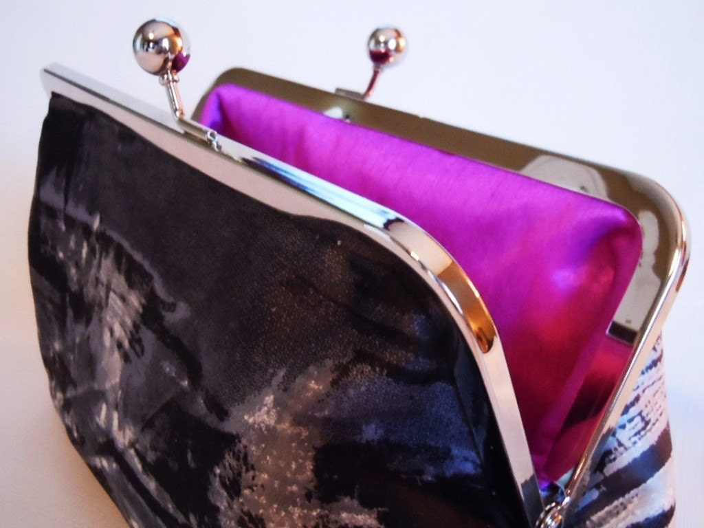 SALE ITEM - Black and White Paint with Purple Clutch Bag