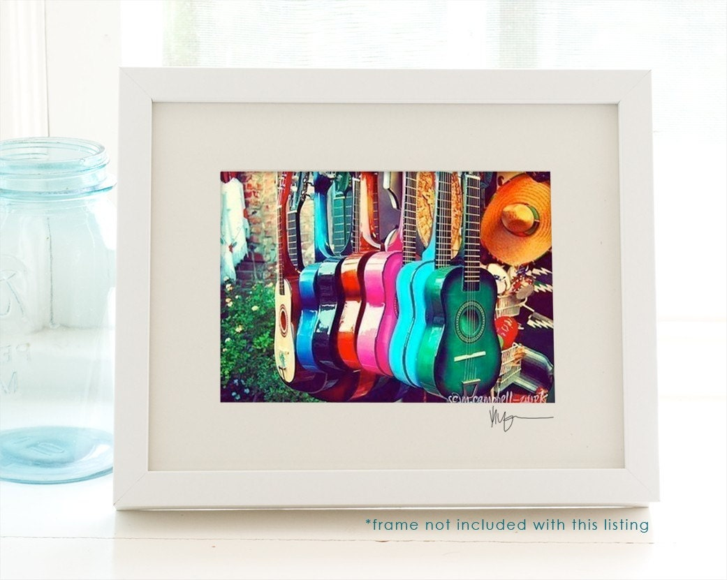 las guitarras. los angeles photograph - colorful rainbow spanish guitars in a row - music - musician - vibrant energetic decor - latin inspired - 5x7 fine art print