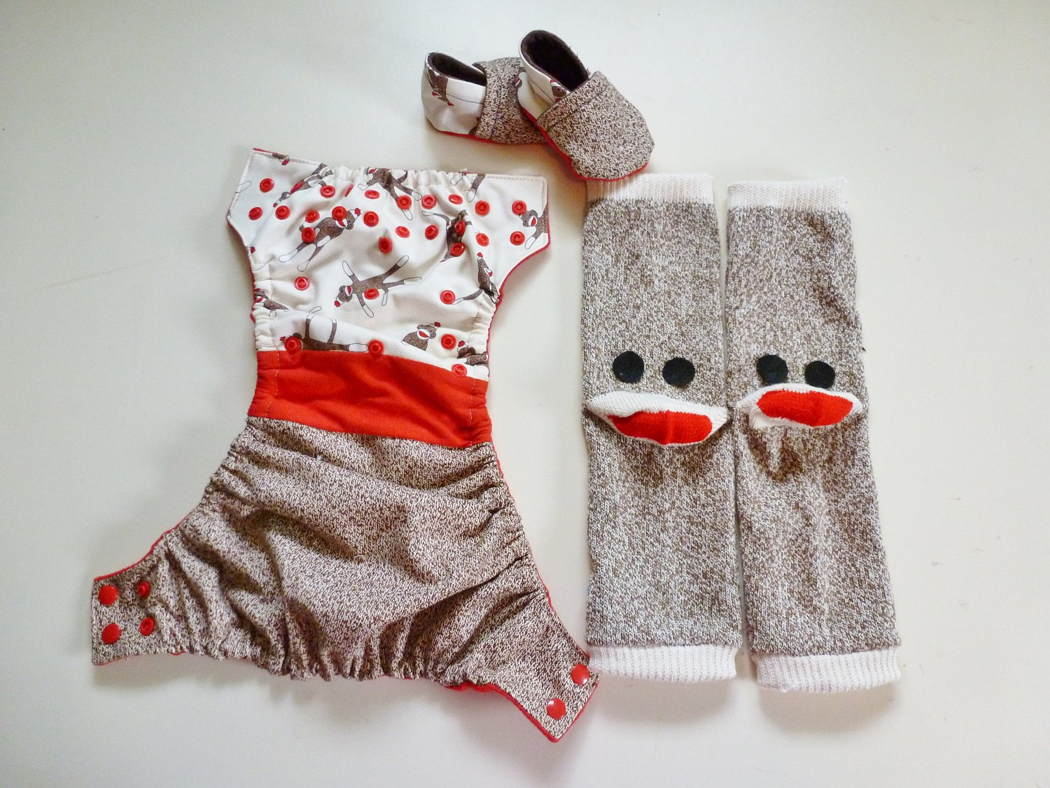 Sock Monkey One Size Pocket Diaper, Leg Warmers and Soft Soled Shoes Gift Set