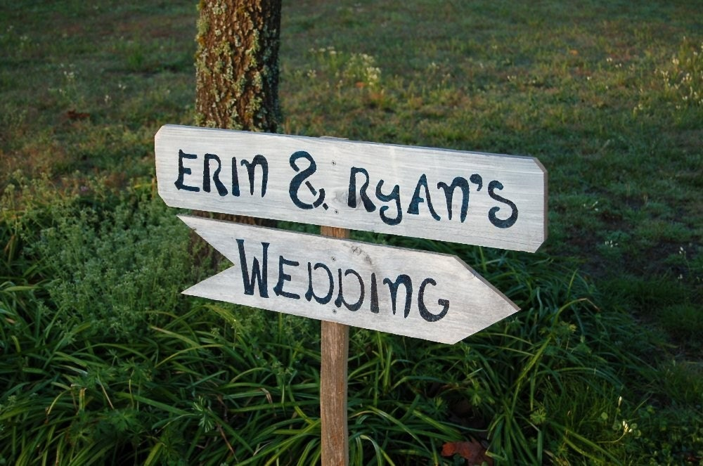 2 Directional Arrow Wedding Signs With Stake((((Personalized Custom Order)))) Reclaimed Wood. Flag Design