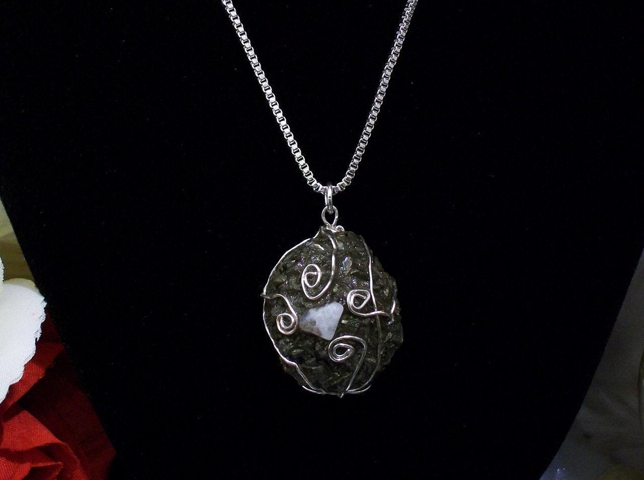 Sterling Silver Shaman, Chakra, Kansas Boji Power Stone Necklace