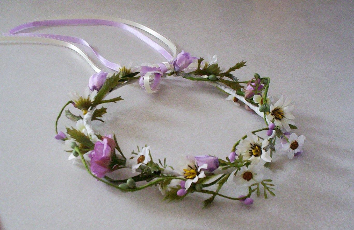 Flower Crown Bridal Lavender Fields hair Wreath Boho
