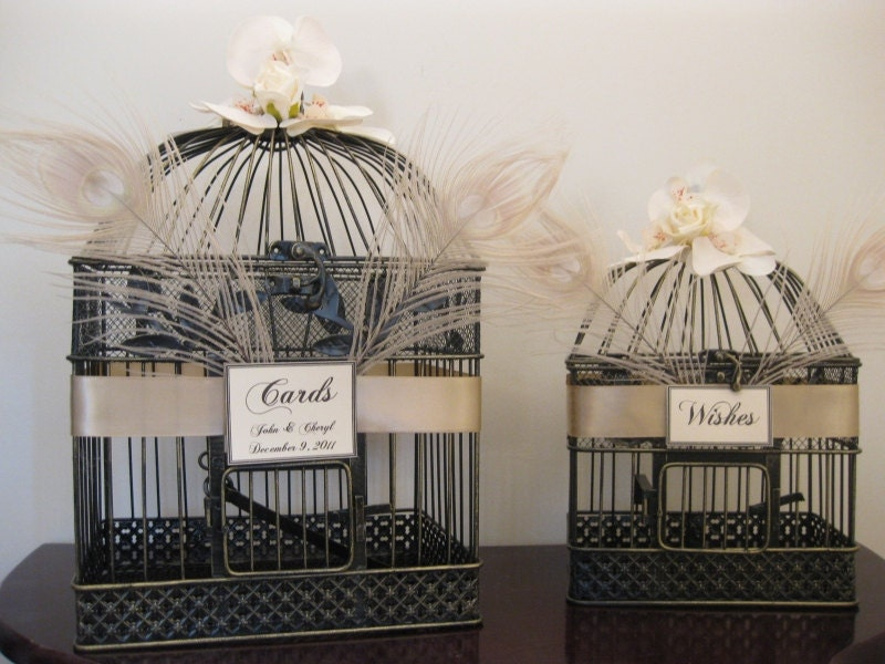 Wedding Card Box Set / Peacock Feathers / Champagne / Retro Style / Bird Cage Card Holder  / Wishes
