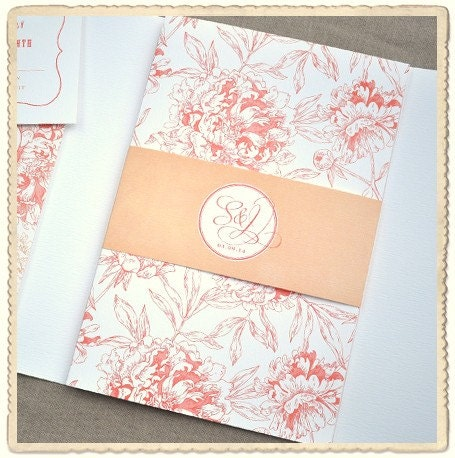 Wedding Invitation Sample, Peonies Design