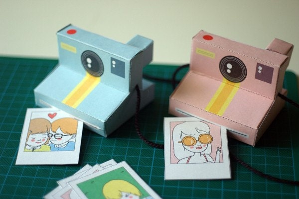 Perfect Paper Polaroid Cameras - includes 2 colours (baby blue and powder pink) - Printable PDF paper craft project