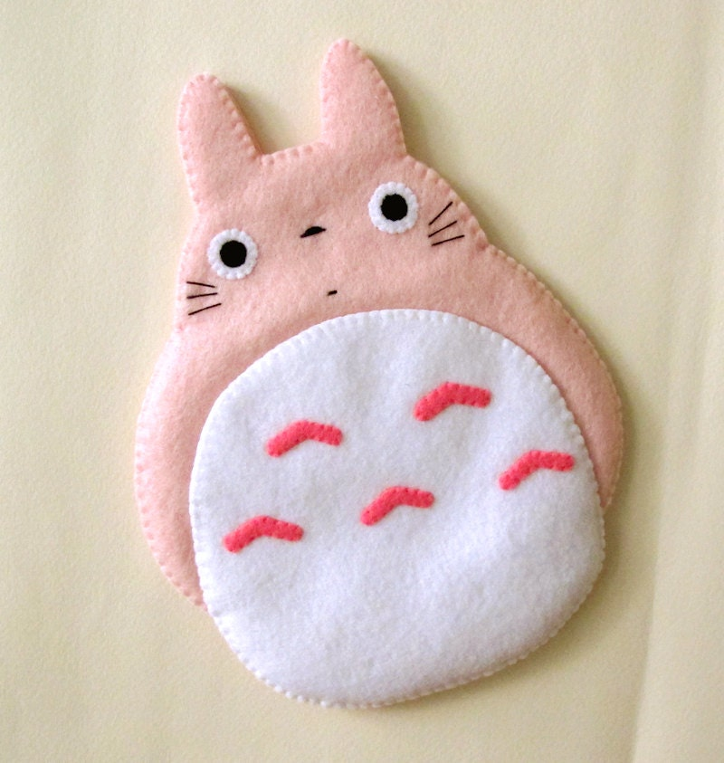 Case Design phone case with pocket : Totoro My Neighbour Big Cute Kawaii Pink by craftingwithlove