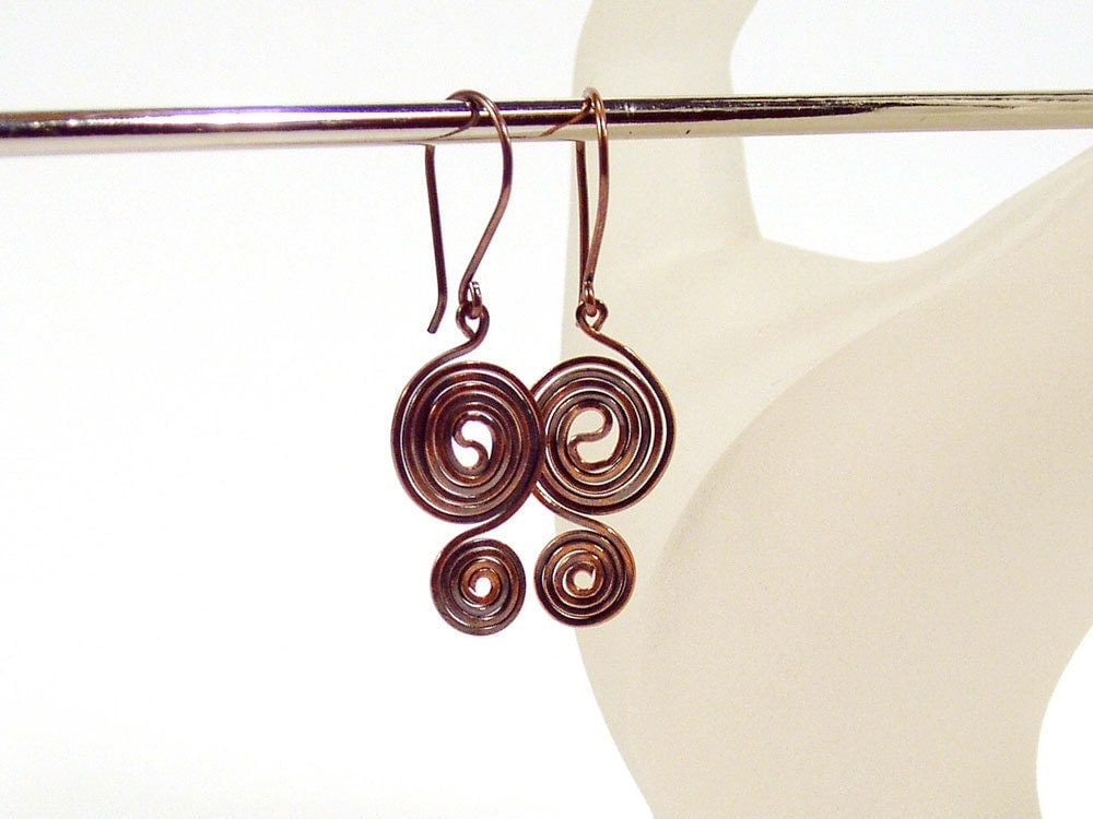 Oxidized Copper Earrings, Double Spiral, Lightweight Earrings, Everyday Earrings, Artisan Jewelry - bluetina