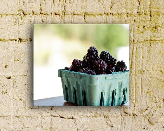 Farmers market, fresh fruit, Blackberries on the porch, 8x8 thinwrap, ready to hang - BleuOiseau