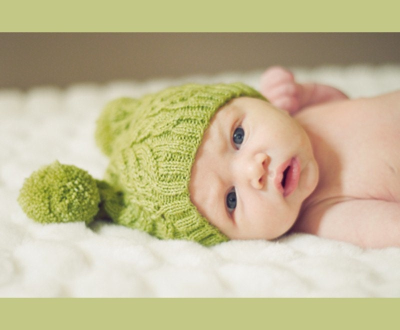 Cabled Knit Hat for Baby, Blue Lime