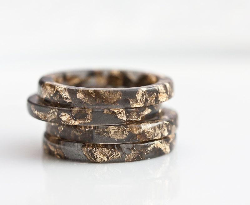 Resin Stacking Ring Black Gold Flakes Thin Small Ring OOAK dark gray glam minimalist jewelry rusteam - daimblond