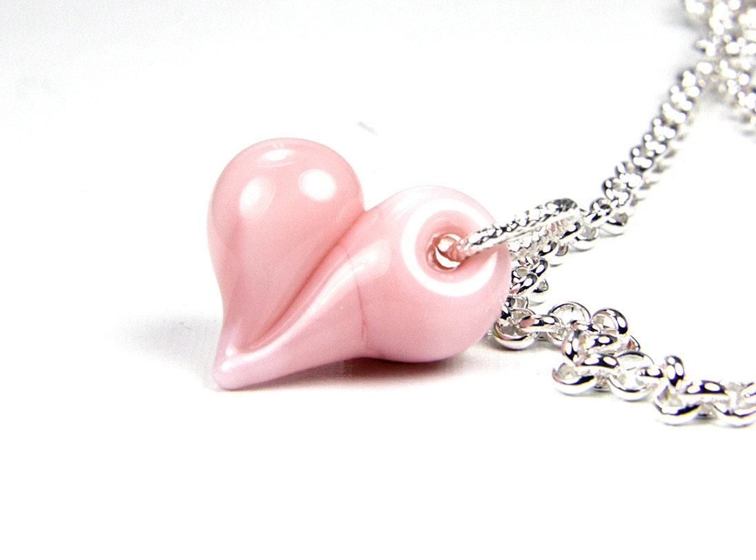 Mothers Day, Peach, Pink, Gift  Lampwork Heart Necklace