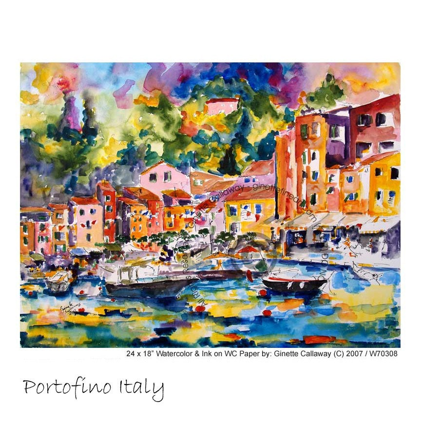 Portofino - Italy Watercolor and Ink Original By Ginette Callaway