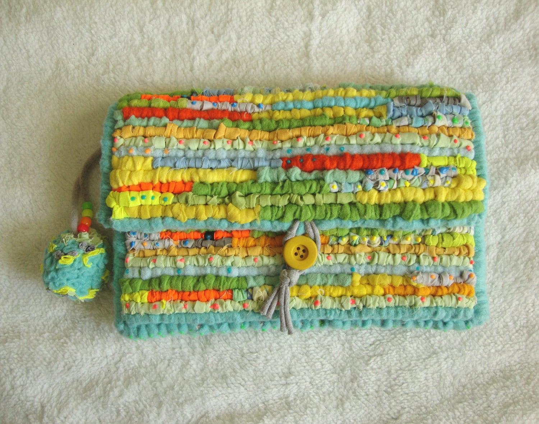 Unique hand woven locker hook clutch bag spring summer day glo bright colours handbag made using cotton fleece felt  chiffon. pom pom