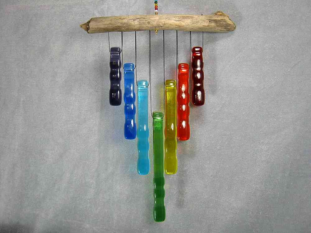 Rainbow Glass Wind Chime with Oregon Driftwood         M1