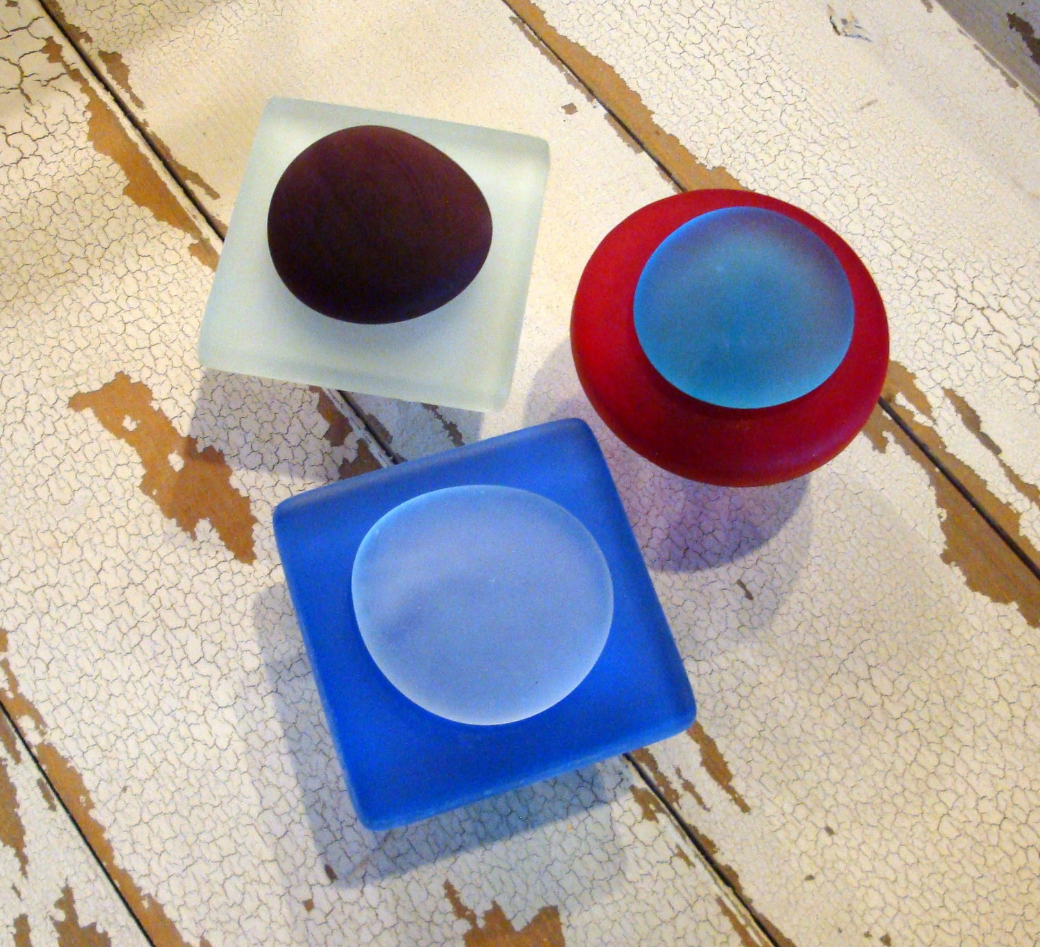 Red, White & Blue Sea Glass Cabinet Knobs with Organic Accent