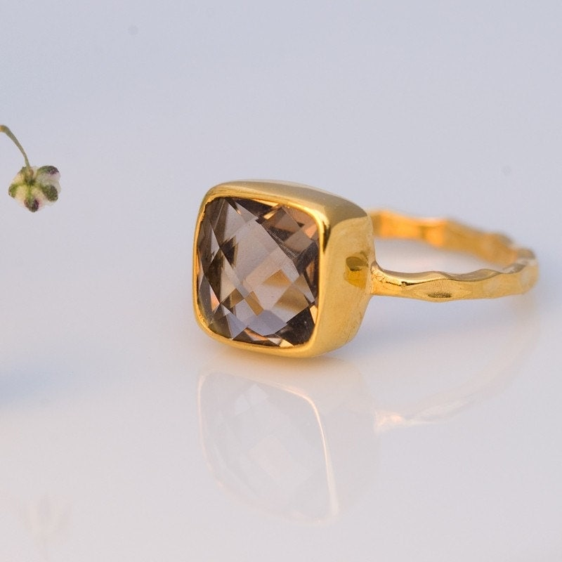 18K Hammered Gold Vermeil and Real Faceted Smokey Quartz Ring