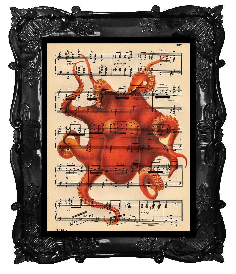 OUR ORIGINAL DESIGN Vintage Mod Orange Musical Octopus Print on an Antique 1889 Music Sheet Book Page