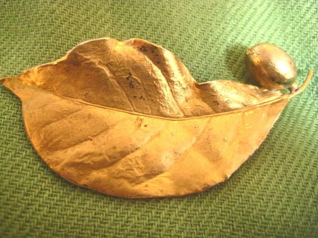 Flora Danica Sterling Silver Gold Overlay Leaf Brooch Denmark Eggert