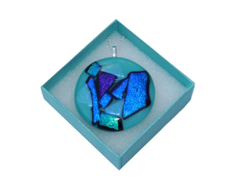 Turquoise and Blue Dichroic Pendant Necklace  Unique Fused Glass Birthday Present  Round Jewellery Handmade Jewelry  Aqua