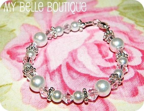Ivory Pearls and Silver Accent Beaded Bracelet for Baby, Toddler, Girl