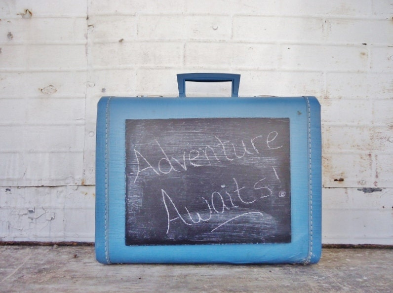 Vintage Suitcase Chalkboard - Upcycled Chalkboard Sign