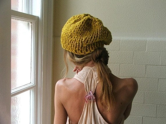 Yellow hat / Mustard hat / Yellow Chunkier knit hat - ileaiye