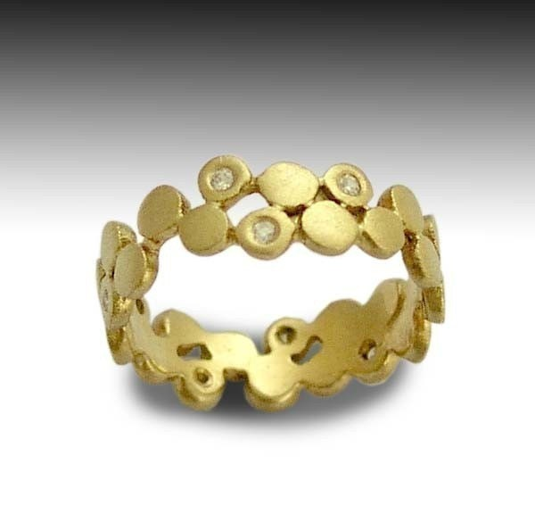 Yet to discover - 4 rows Sterling silver ring combined yellow gold.