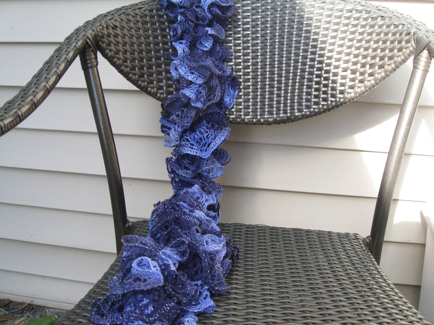 Ruffled Shades of Blue Lace Yarn Hand Knitted Soft Acrylic Scarf 55 inches long