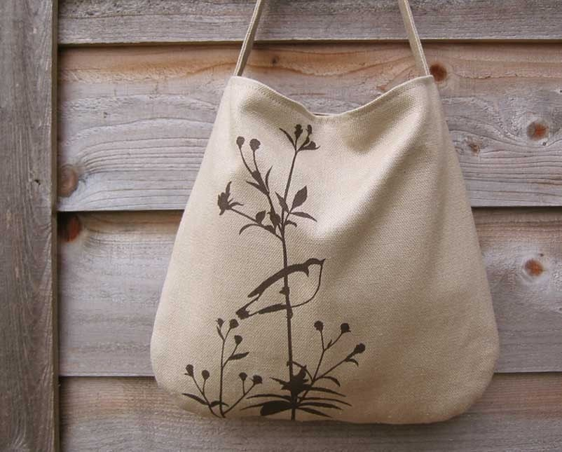 Eco-friendly Hemp Bag with Songbird on Flower (Taupe)