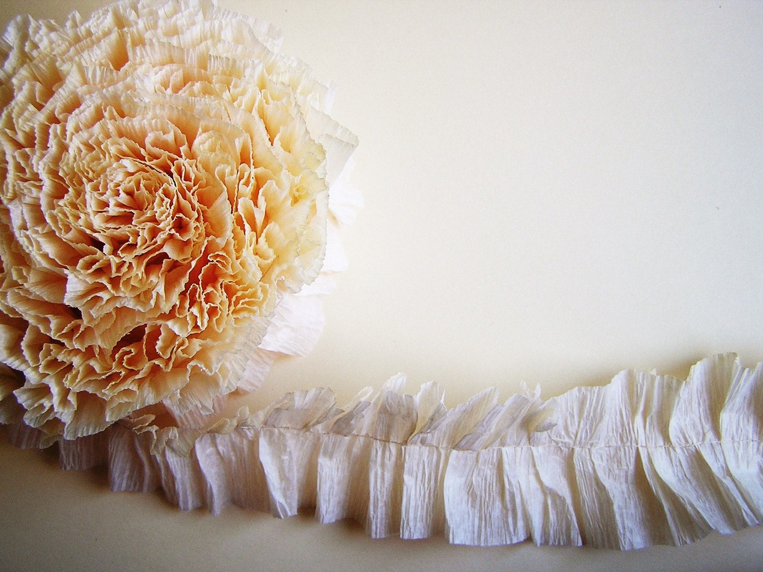Cream Ruffled Crepe Garland/ Trim