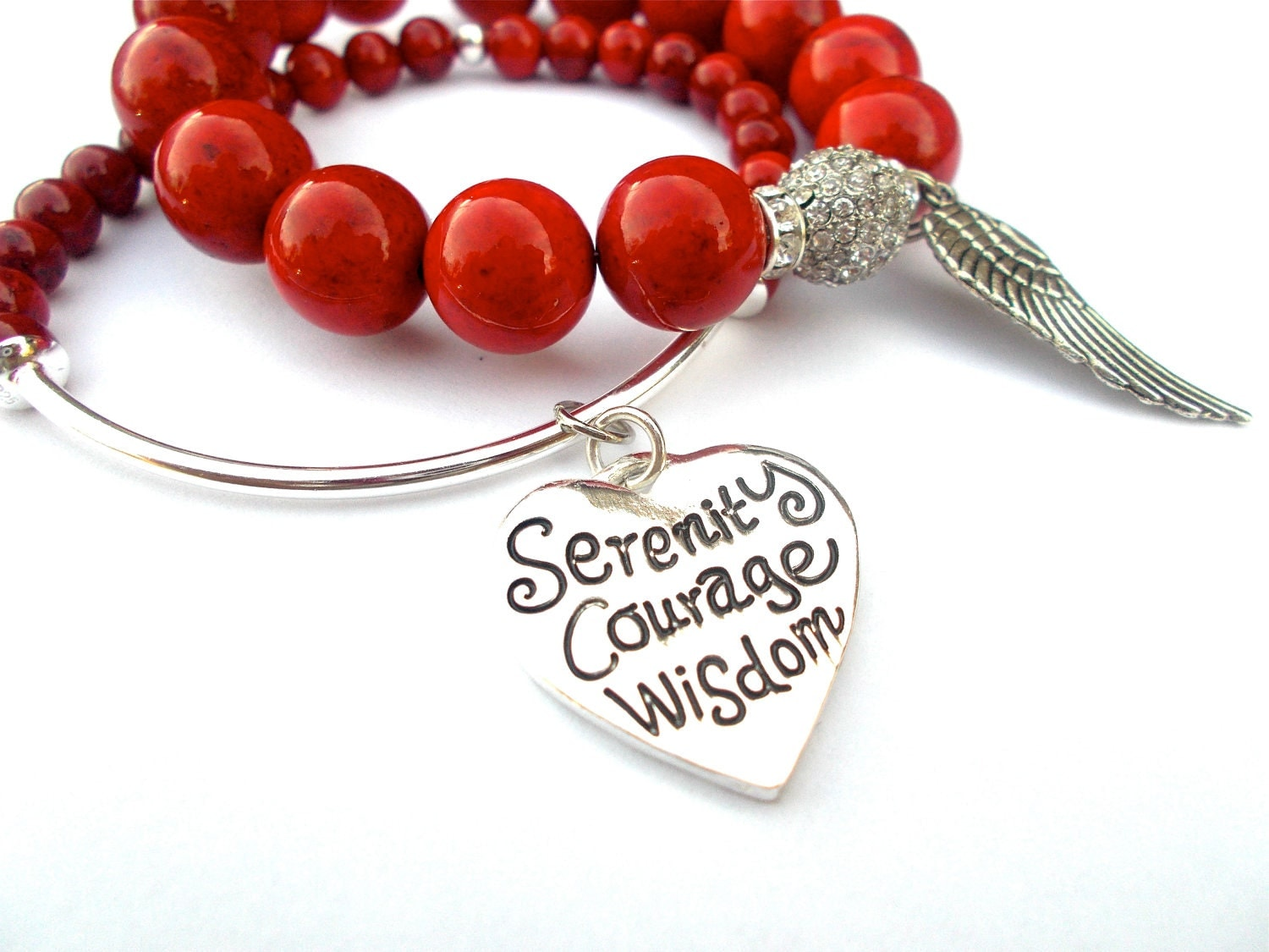Red stone bracelet, Charm bracelet, Serenity Prayer, Statement, Christian Jewelry, Faith Gift