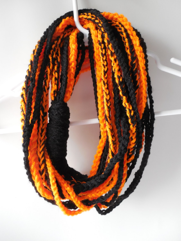 scarf scarf orange and black by shelleyscrochetole