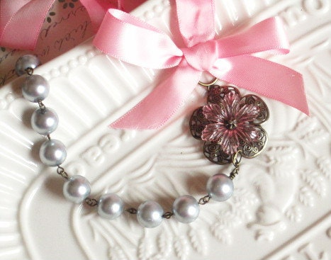 Handmade Silver/Gray Pearls Pink Ribbon Necklace by SnobishDesign from etsy.com