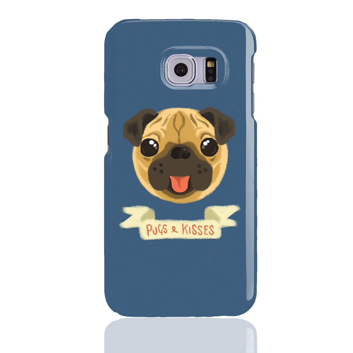 Pugs  Kisses Phone Case for Samsung Galaxy S5 S6 S7 S6 Edge S7 Edge  Cute panting pug dog. Grey Red Blue Green and Yellow