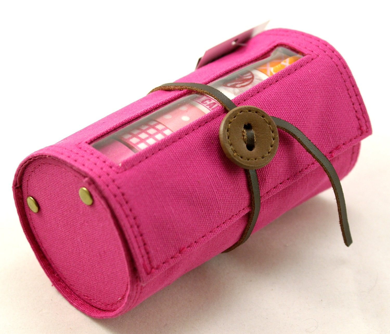 Japanese Washi Masking Tape Dark Hot Pink CANVAS Holder or Storage Case for multiple rolls of tape