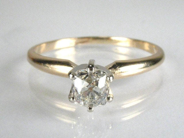 Unique Old Mine Cut Diamond Solitaire Engagement Ring
