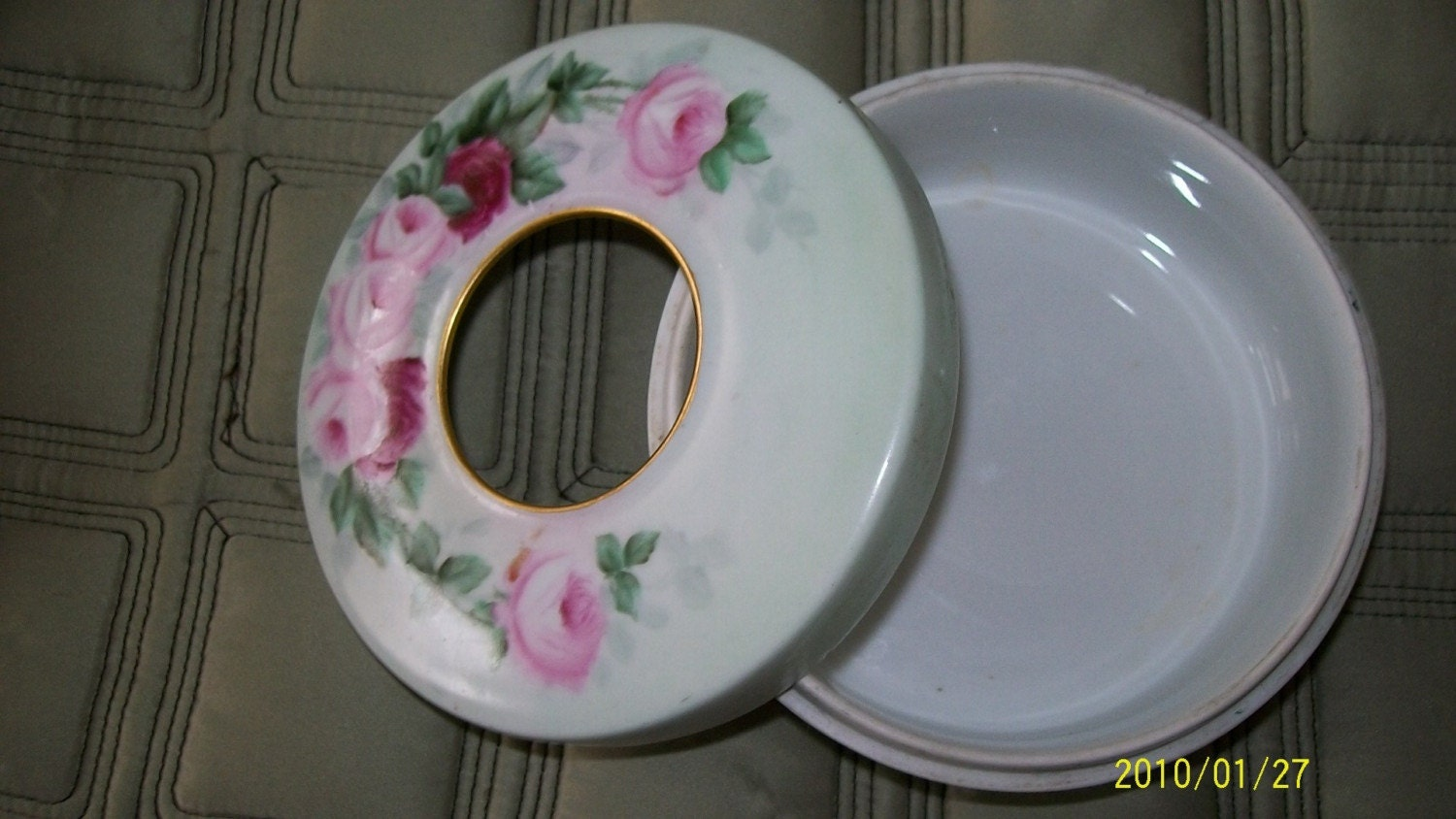 Vintage Hair Receiver dish with Pink Roses