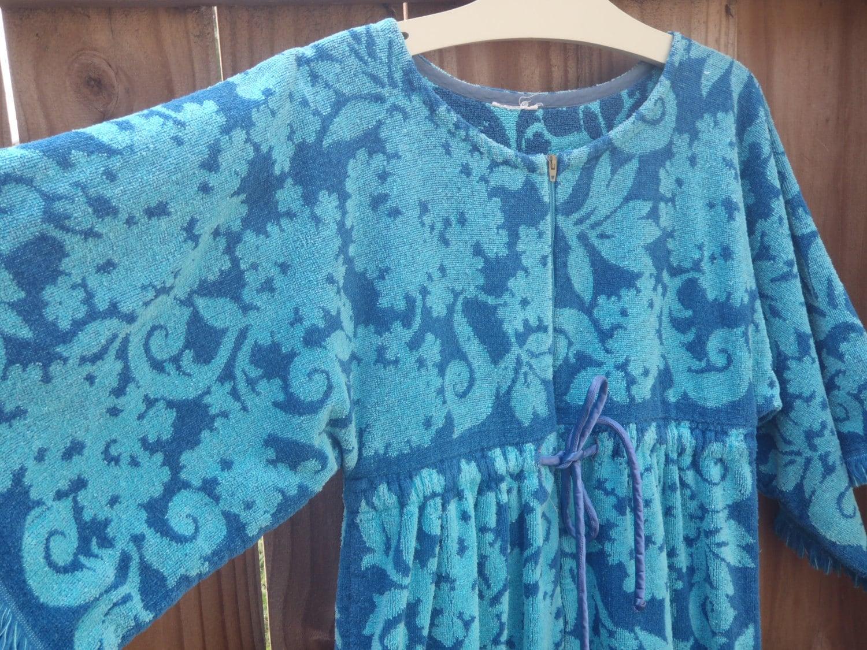 Long Blue Swim Cover up Terry Cloth Towels Beach Dress
