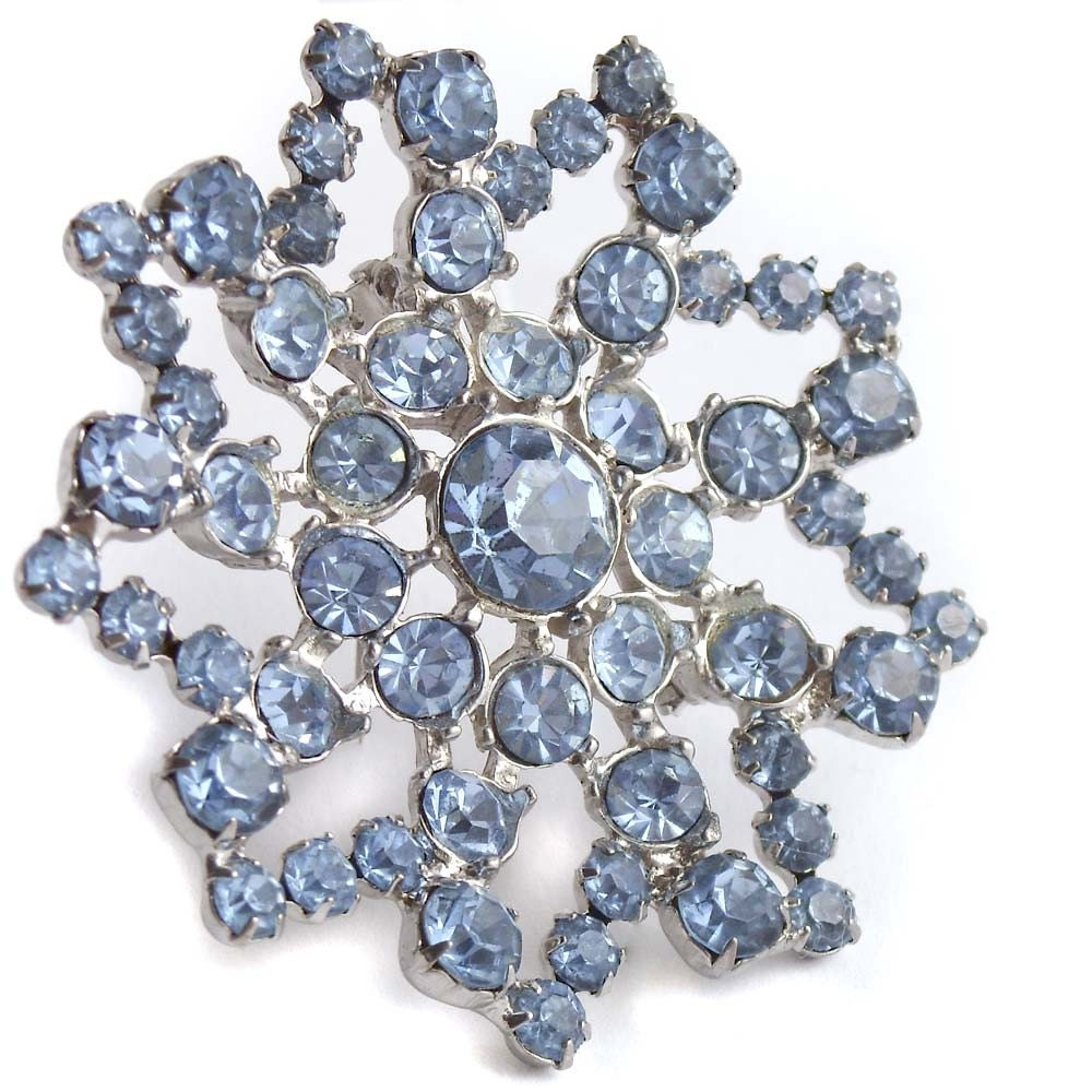 Stunning Light Blue Vintage Rhinestone Brooch