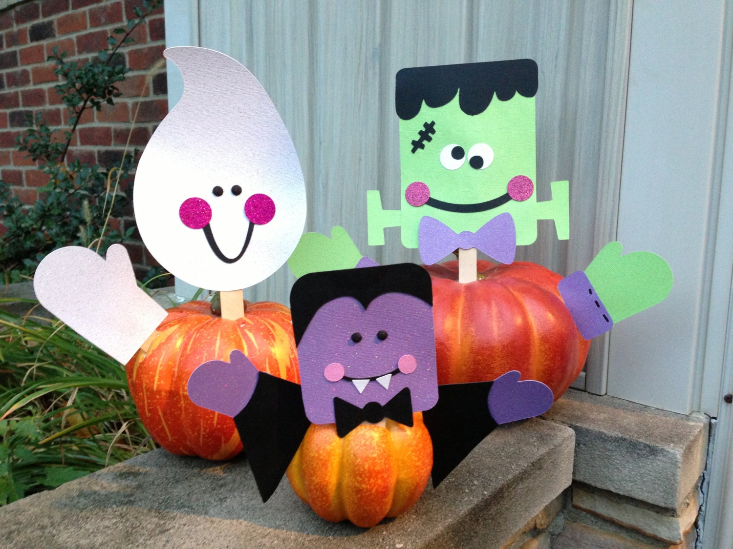 GHOST Head and Arms Halloween PUMPKIN Picks Halloween Decor Ready to Ship REUSABLE