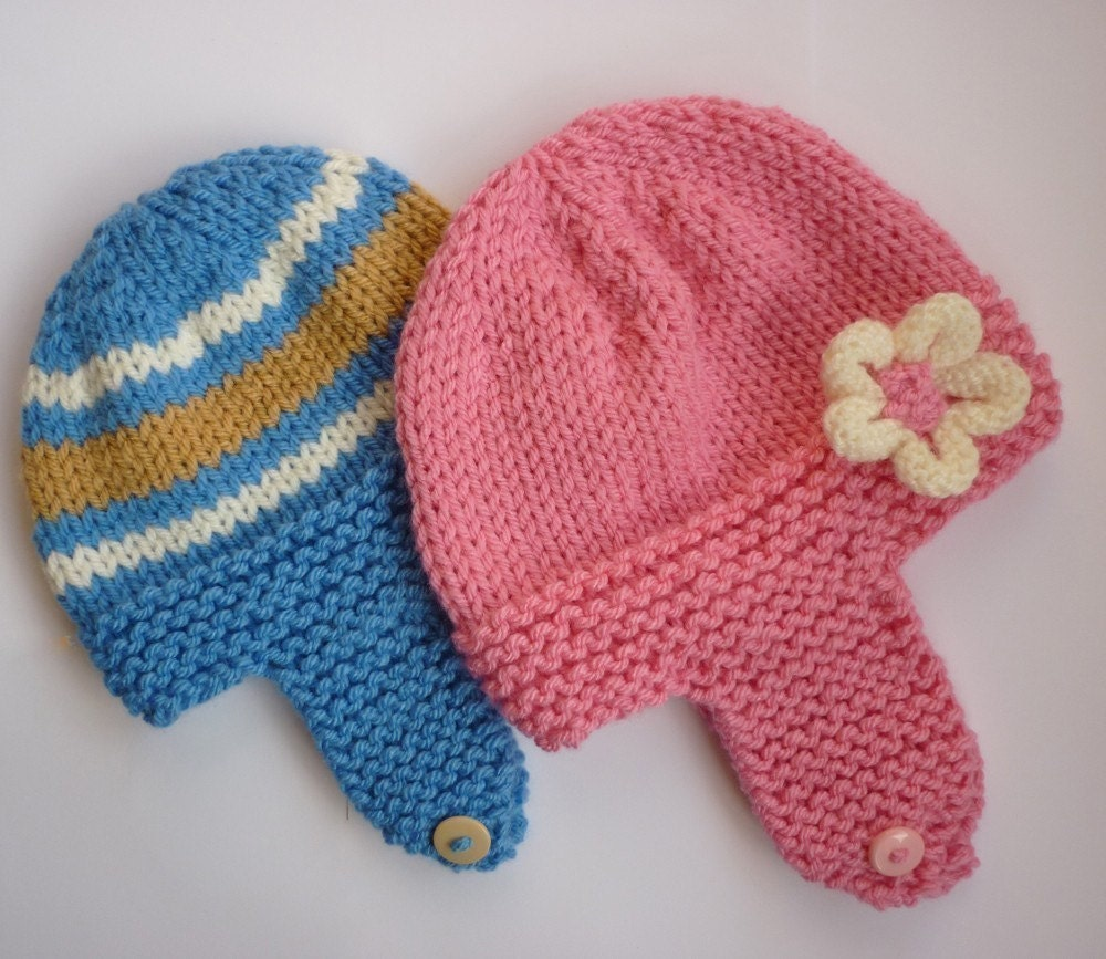 Knitting Pattern Chunky Baby Hat : PDF knitting pattern chunky weight earflap baby hats by LoveFibres
