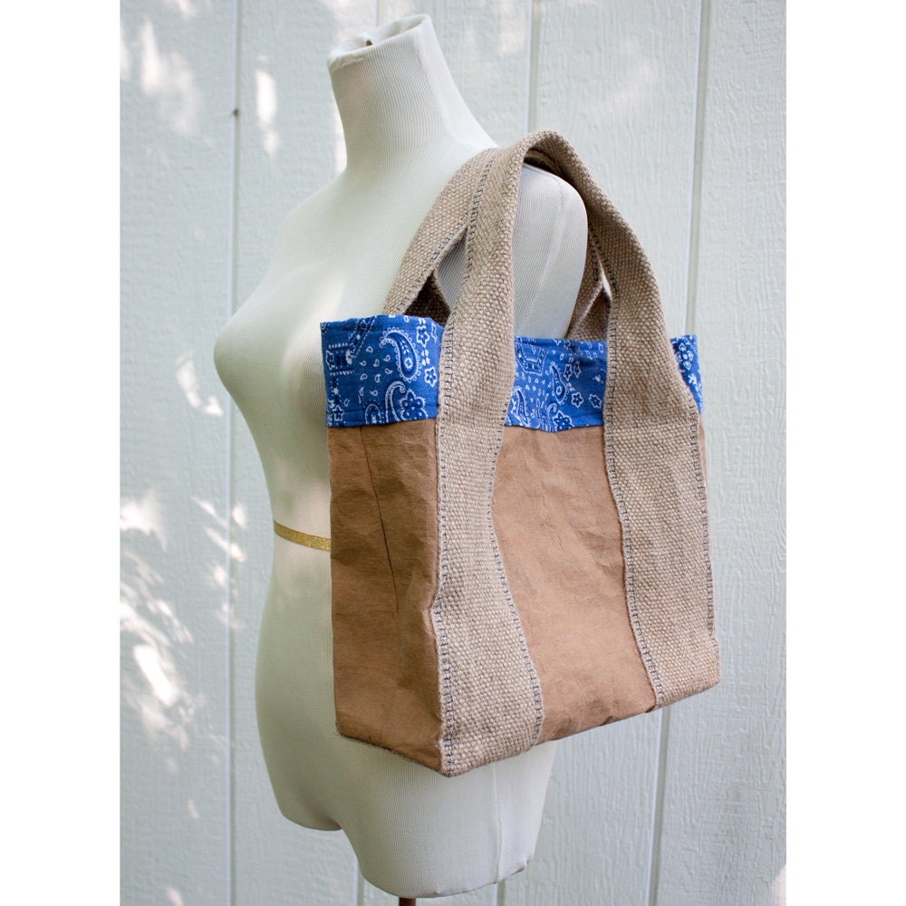 CARTA Tote Bag with Blue Bandana Lining - HuzzahHandmade