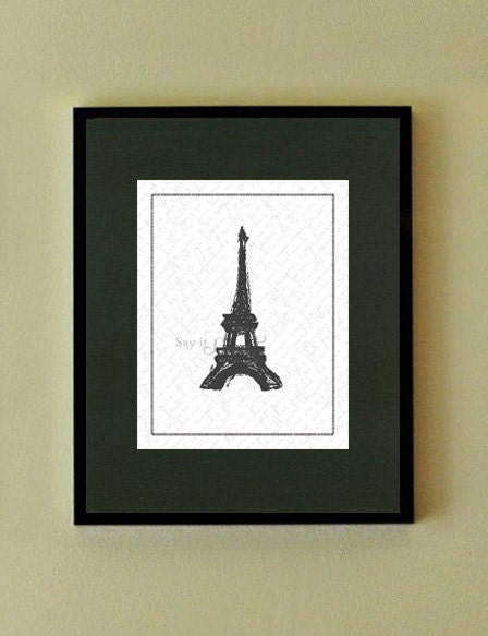 eiffel tower sketch. Eiffel Tower Sketch, 11x14 print (Blanc Vintage Scroll Vertical) BUY 3 GET 1