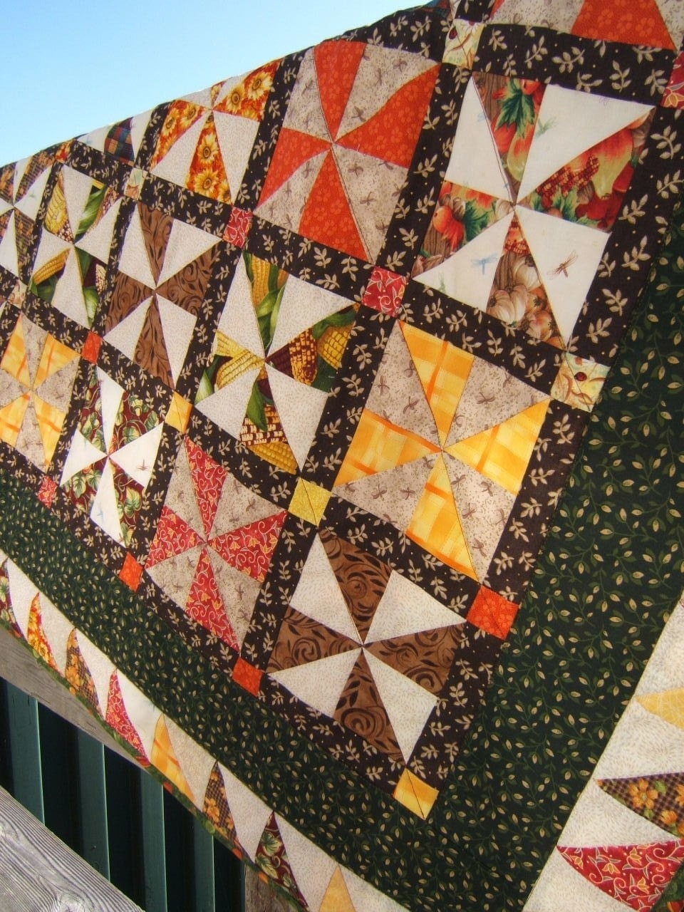 Autumn Pinwheel Lap Quilt size 39 x 68 Yellow Orange Brown Cranberry Green