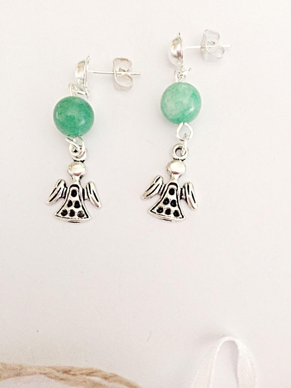 Jade Angel Earrings  Dangly Earrings  Jade Bead Earrings  Gemstone Jewelry  Angel Jewelry  Gift For Her