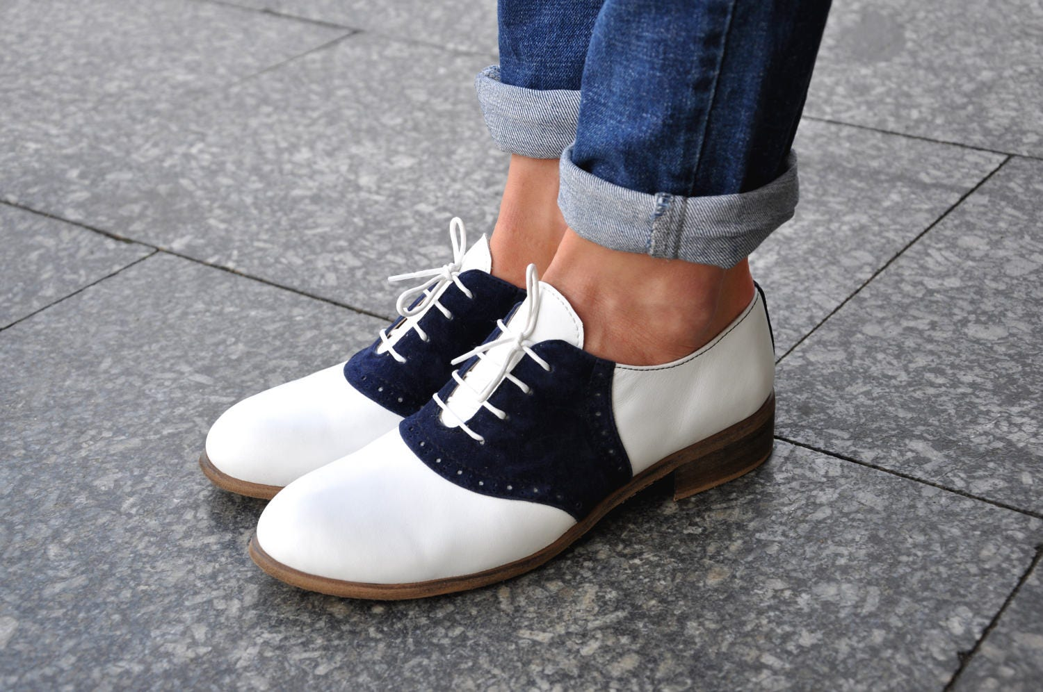 Saddle  Womens Leather Oxfords Classic Handmade Shoes Vintage Shoes White Shoes Saddle Shoes Custom Shoes FREE customization!!!