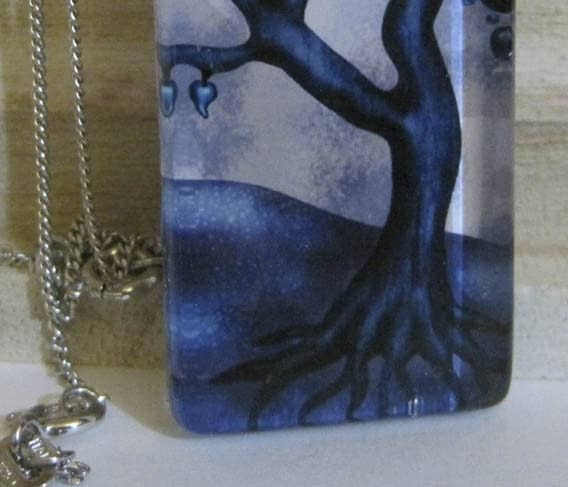 Winter Blue Tree Glass Pendant
